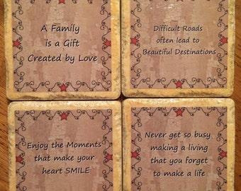 Primitive Ceramic Tile Coasters