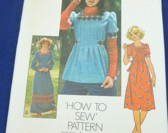 Simplicity 7648 Size 8 Pattern Misses' Dress in Two Lengths or Top 1976 Uncut Vintage