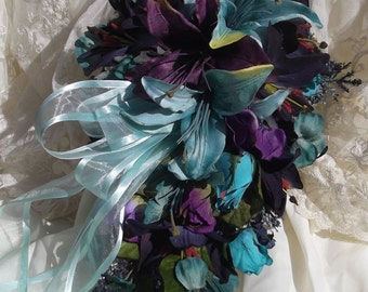 Bride Silk Wedding Flowers Bouquet Navy Purple Turquoise Lily 15 pc set