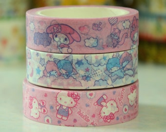 1 Roll of Japanese Washi Masking Tape (Pick 1) - My Melody, Little Twin Star, Or Hello Kitty