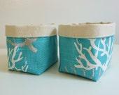 Canvas Basket Organizers - Set of 2 - in Coral Slub Coastal Blue - Small Organizer Bin - Gift Basket