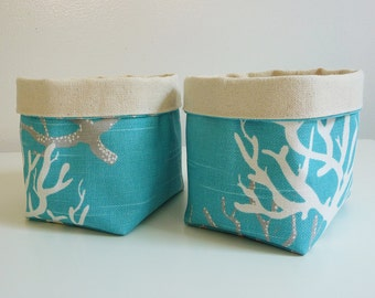 Canvas Basket Organizers - Set of 2 - in Coral Slub Coastal Blue - Small Organizer Bin - Gift Basket