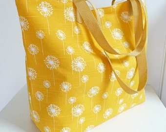Large Tote Bag, Carryall in Yellow & White Dandelion, Lightweight with Pocket, Handles, Great Gift
