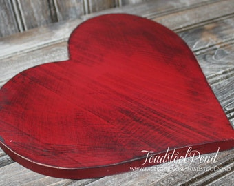 """8"""" Solid Wood  Handpainted Distressed VALENTINE Heart Rustic Shabby Sign Hearts Love ANY color"""