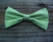 mens bow tie men's clip on bow tie mint green tie polka dot bow tie men's accessories groom's accessories