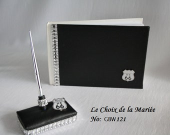 Wedding/Guest book/Guestbook/Route66 wedding guest book/Route 66 guestbook/Route 66 Black guest book/Black guestbook/Route 66/Black route 66