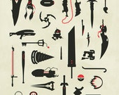 Video Game Weapons, Gaming, Swords, Guns, Collage Print Poster featured image