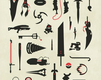 Video Game Weapons, Gaming, Swords, Guns, Collage Print Poster