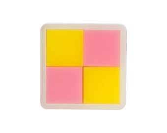 Battenburg brooch - laser cut acrylic