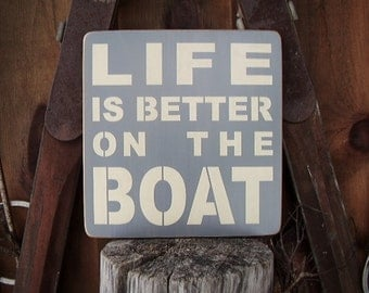 Lake House Decor, Lake Signs, Life Is Better On The Boat, Lake Life, Lake Wall Art, Cottage Decor, Boat Sign, Nautical Decor, Wood Signs