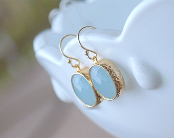 Light Blue and Gold Drop Earrings - Oval Drops on Gold Filled Earwire - Powder Blue, Alice Blue Stone Earrings - Light Blue Earrings