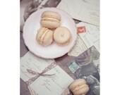 Macaron Postcard, Pastel, Creamy Photograph, Dreamy Fine Art Print, Antique French Paris Postcards, Love Letters Photography