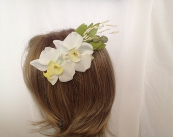 Divine Cream Colored Faux Orchid Hair Accessory