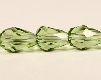 Teardrop Crystal Beads 6x4mm Olive Green Small Faceted Chinese Crystal Glass Tear Drop Beads for Jewelry Making 33 Loose Beads per Pack