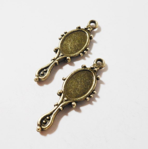 Bronze Mirror Charms 27x10mm Antique Brass Mirror Charms Mirror Pendant Snow White Charms Cabochon Settings for 9x6mm Oval Cabochons 10pcs