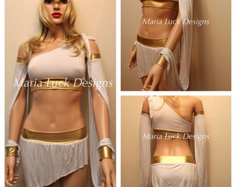 Greek Goddess sexy Halloween costume white gold stage theme dress up party outfit by Maria Luck