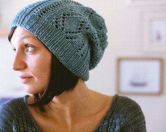 Schwimmen Hat Knitting Pattern Slouchy Open Work Lace PDF