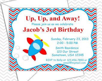 Airplane Invitations PRINTABLE - Birthday Party - Baby Shower - Transportation