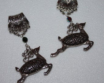 Leaping Silver Tone Reindeer Scarf Slide with AB Glass Bead 1 ONLY