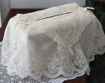 Cozymom Wholesale Handmade Lace Tissue Box Cover ,Embroider Table DECO