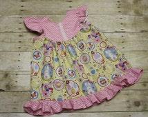 Sz 2/3 Ready to Ship Easter Dress Bunny Dress dress pink aqua yellow chevron