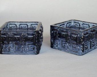 Pair of Taalari Candle Holders in Smokey Blue Designed by Tamara Aladin for Riihimaki 1960's