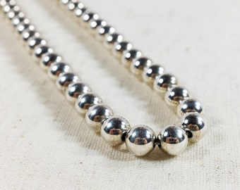 "Vintage Women's Artisan Sterling Silver Floating 7mm Bead Necklace Chain 20"" Long - 26.1 grams FREE SHIPPING!"