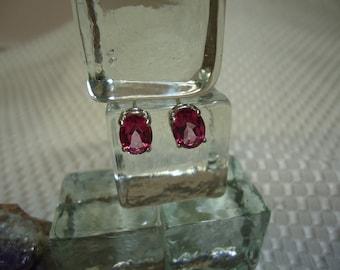 Oval Cut Pink Topaz Earrings in Sterling Silver   #1370