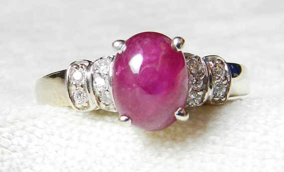 Ruby Diamond Rings: Ruby Cabochon Ring 14K White Gold 2 20 Ct