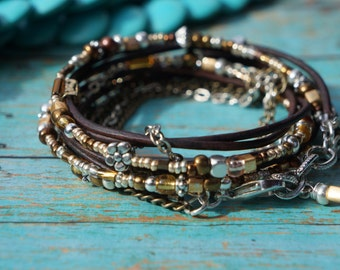 Boho ~ Endless Leather Wrap Bracelet ~ Silver and Gold