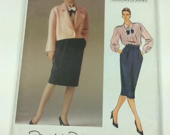 Vogue Oscar De La Renta Pattern, Vogue 1592, Vogue Designer Pattern, Jacket, Top and Skirt, Size 10, 1980s