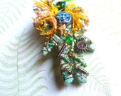 SALE Shaman Pin of Green & Gold with Sun Charm and Beads