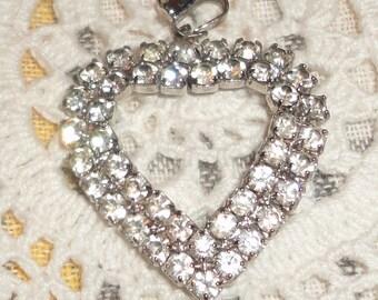 Vintage Rhinestone Heart PENDANT *