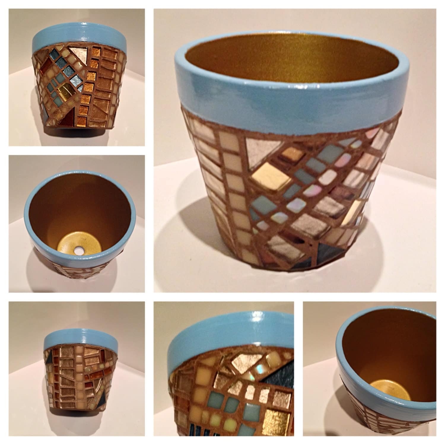 Unique Mosaic Flower Pots Gold Ceramic Mosaic By