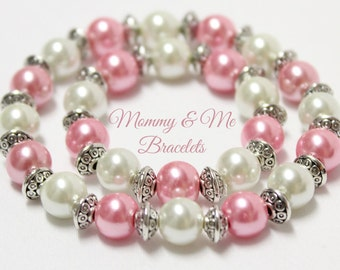 Mothers Day Jewelry Mommy & Me Matching Bracelets: Pink and Ivory Pearls- Birthday gift, Mother's Day, Christmas, Christening, Easter