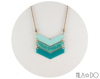 Tika necklace ombre mint turquoise triple chevron || Enamel and brass arrow necklace