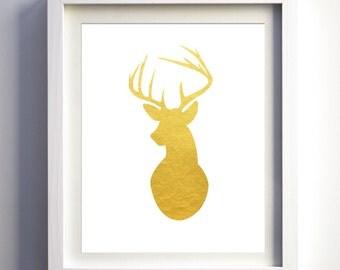 Gold foil deer print, gold antlers wall art, deer silhouette, deer print, deer wall art gold animal print wall art decor nursery print art