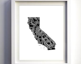 California state print, California wall art, black and white original unique state decor modern art minimalist states print floral state