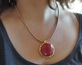 Leather Carnelian Necklace - Rustic Gemstone Jewelry Leather Gold filled