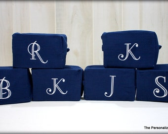 Set of 6 Monogrammed Cosmetic Bags - Personalized Monogram Waffle Weave Make Up Bag Bridesmaid Gift Wedding Gift