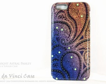 "Paisley iPhone 6 Case - Artistic Case For iPhone 6s - ""Midnight Astral Paisley"" - Blue, Purple and Orange Paisley Case for iPhone 6 6s"
