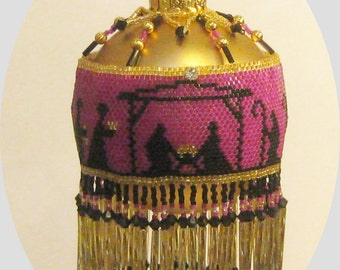 Beaded Christmas ornament cover instructional pattern or tutorial - Pay with Paypal and receive a 5 dollar rebate