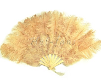 "Beige Camel Burlesque 21""x 38"" Marabou & Ostrich Feathers Hand Fan With Bamboo Staves"