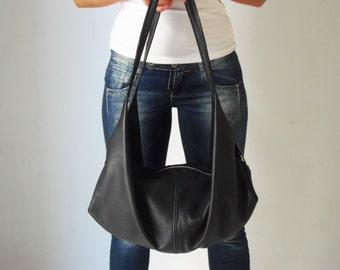 Black leather shoulder bag  - Black handbag - Soft leather bag -  DeLuna
