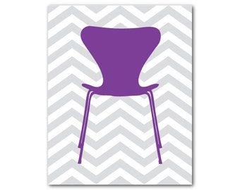 Midcentury modern Chair silhouette on chevron - Wall Art - Midcentury Modern Furniture - print - nursery art - wall decor - retro chair