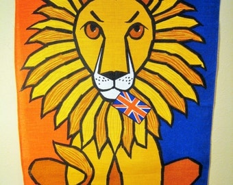 Half Off SALE // Linen Tea Towel / Lion Union Jack British Flag - Made in Ireland ULSTER, Orange, Blue, Yellow, Gold, MCM Wall Hanging - Leo