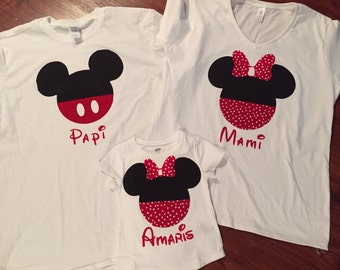 Adult Personalized (Front & Back) Mickey or Minnie Mouse Silhouette T-shirt