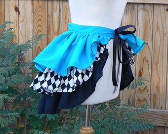 Victorian Steampunk Ruffle Bustle Belt Skirt Tiered Overskirt