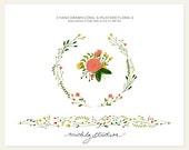 3 PNG Hand Drawn Mustard & Coral Floral digital clip arts
