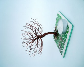Wire Sculpture Twisted Tree - Home Decoration/Candle Holder